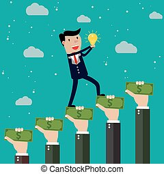 crowdfunding, vektor, begriff