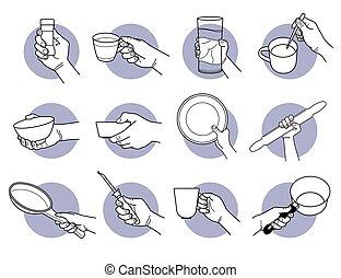 cup., hand, trinken, kueche , besitz, crookery