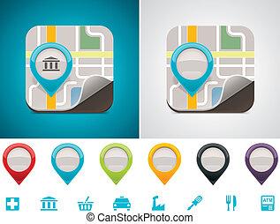 customizable, landkarte, ort, ikone