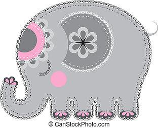 cutout., stoff, tier, elefant