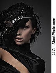 dame, mode, kunst, geldstrafe, foto