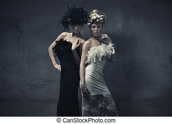 damen, mode, kunst, foto, zwei, geldstrafe