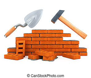 Darby und Hammer bauen Tool-Hausbau isoliert