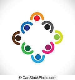 darstellen, oder, kinder, andersartigkeit, &, graphic., leute, huddling, abbildung, meeting-vector, einheit, zusammen, beisammensein, mannschaft, geschäftsführung , angestellte, spielende , korporativ, kinder, buechse