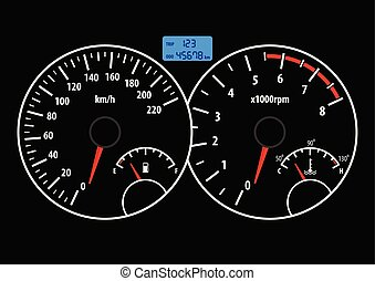 Das Armaturenbrett mit Tachometer, Tachometer, Treibstoff und Temperaturmesser. Vector Illustration