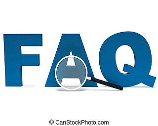 Das Faq-Wort zeigt gefälschte Ratschläge oder stellt häufig Fragen