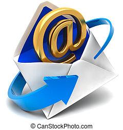 Das goldene Symbol der E-Mail kommt aus dem Briefumschlag