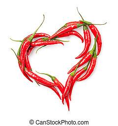Das Herz von Chili-Pfeffer, isoliert auf weiß.