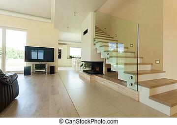 Das Interieur des modernen und hellen Hauses.