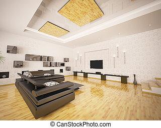 Das Interieur des modernen Wohnraums 3d.