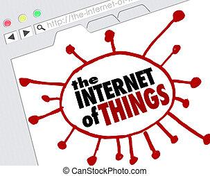 Das Internet der Dinge Website browswer Bildschirm Online-Netzwerk-Verbindungen.