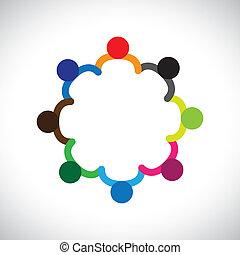 Das Konzept von Kindern, die spielen, Teamwork und Vielfalt. Die Grafik enthält Kinder, die Händchen halten und einen Kreis bilden. Dies kann auch den Begriff des Unternehmensteams und der Teamwork & & peoplevielfalt darstellen