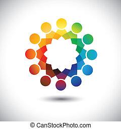 Das Konzept von Kindern (Kinder) spielt, hat Spaß zusammen, Vektorgrafik. Diese Illustration ist auch eine Gemeinschaft von Menschen, Büropersonal in Kreisen oder Gewerkschaft von Arbeitnehmern, Arbeitstreffen usw