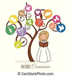Das Mädchen liest die Bibel unter einem Baum