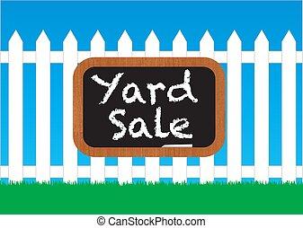 Das Schild zum Yardverkauf.