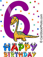 Das sechste Geburtstags-Cartoon-Design.