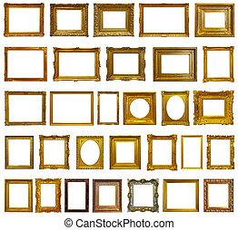 Das sind 30 goldene Bilderrahmen