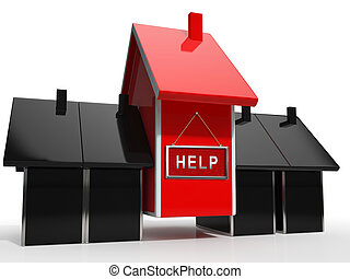 Das Symbol für die Freistellung von Hilfe bedeutet Hilfe, um eine Eigentumsversteigerung zu stoppen - 3d Abbildung