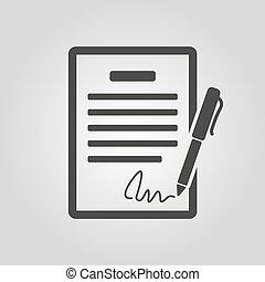 Das Vertragssymbol. Abkommen und Unterschrift, Pakt, Abkommen, Symbol des Konvents. Flat