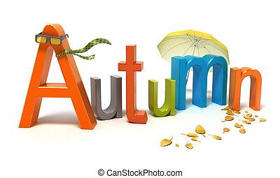 Das Wort Herbst mit bunten Buchstaben.