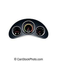 Dashboard-Vorlage, Tachometer, Tachometer, Kraftstoff- und Wärmepaneel Design