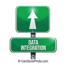 Data Integration Road Sign Illustration Design.