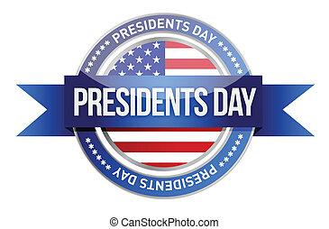 day., präsidenten, banner, uns, siegel