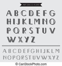 deco, kunst, weinlese, -, typographie, vektor, schriftart, eps10, art