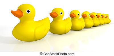 Deine Spielzeugkautschuk-Enten in einer Reihe.