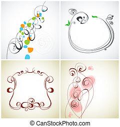 dekoration, satz, calligraphic