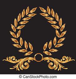 dekoration, siegerkranz, gold