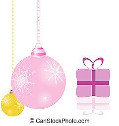 Dekorationen für den Weihnachtsbaum und Paketvektor