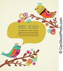 dekorativ, reizend, hintergrund, bunte, vögel