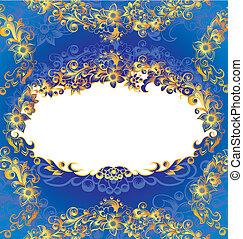 Dekorativer blauer Blumenrahmen