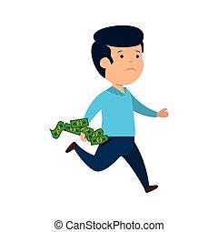 Depressiver Mann für Geld mit Scheinen.