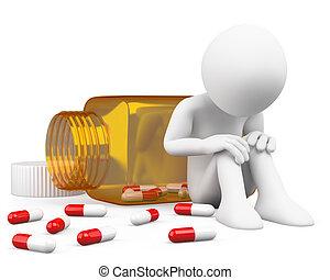 deprimiert, mann, pillen, nehmen, 3d