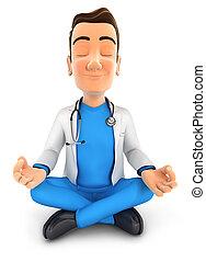 Der 3. Arzt macht Yoga.