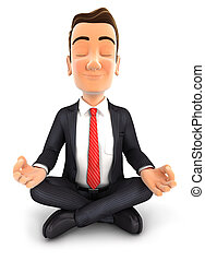 Der 3. Geschäftsmann macht Yoga.