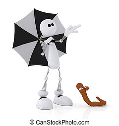 Der 3D kleine Mann mit einem Schirm.