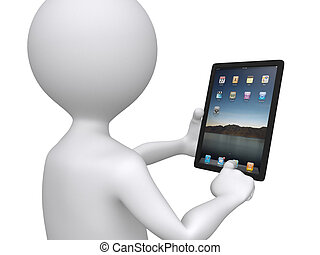 Der 3D-Mann hält einen Touchpad PC und drückt eine der Ikonen