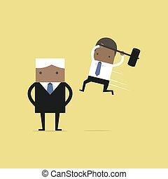 Der afrikanische Geschäftsmann springt den Boss von hinten an.