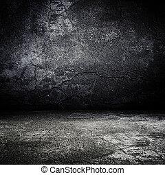 Der alte Grunge gruselige Raum mit konkreter Beschaffenheit