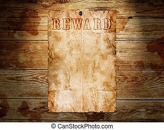 Der alte Western wollte ein Poster aus Holz