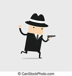 Der Detective lief mit einer Waffe in der Hand.