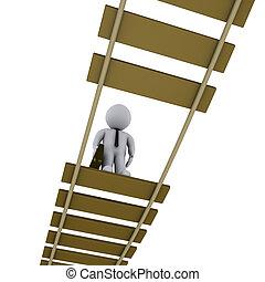 Der Geschäftsmann auf der kaputten Brücke schaut runter