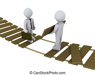 Der Geschäftsmann hilft einem anderen, eine beschädigte Brücke zu überqueren