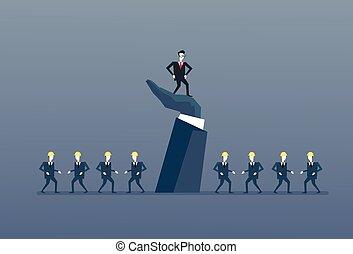Der Geschäftsmann steht auf dem großen Marktführer mit Business-Leuten-Gruppenführer-Konzept.