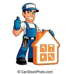 Der Handwerker trägt Arbeitskleidung.