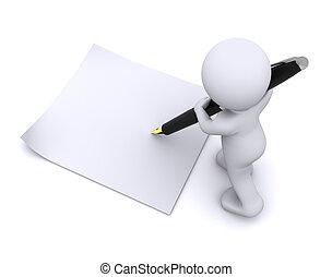 Der kleine 3-D-Typ schreibt eine Karte mit großem Stift