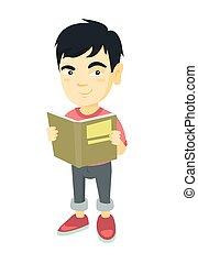 Der kleine Asiate liest ein Buch.